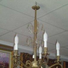 Antigüedades: LAMPARA ANTIGUA DE TECHO, DE BRONCE Y CRISTAL.. Lote 38575362