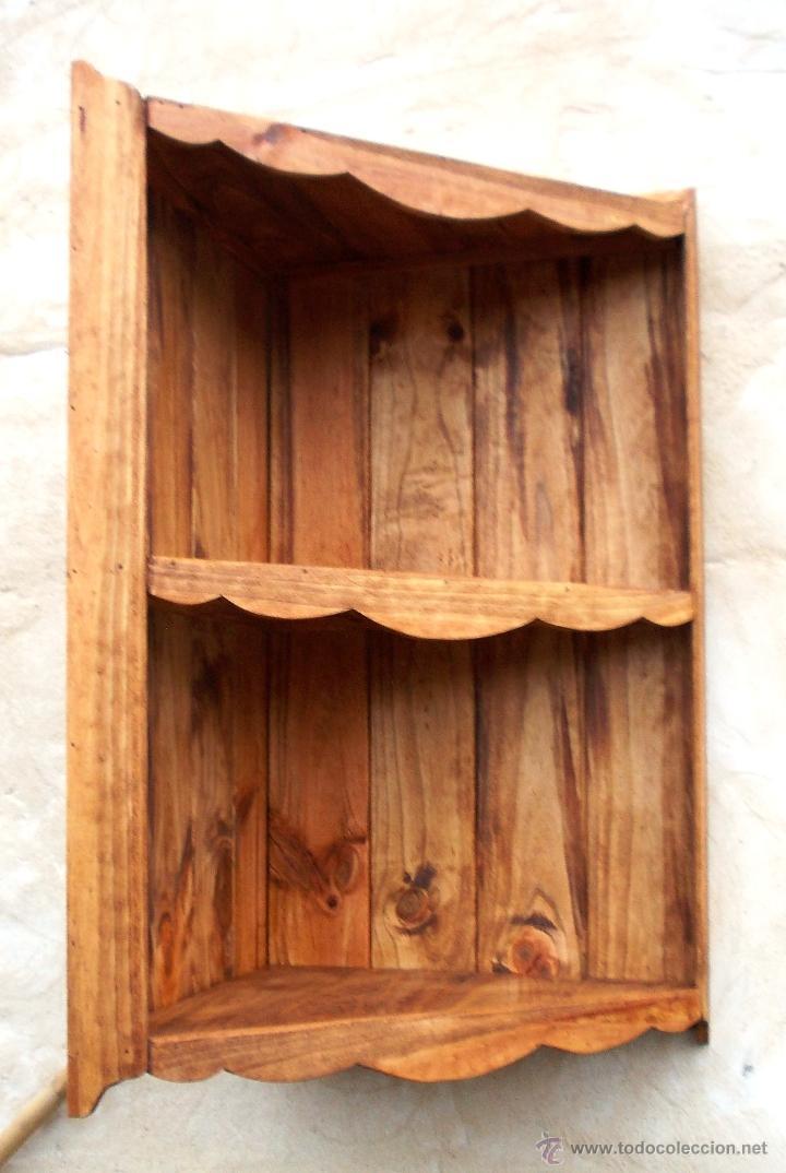 Mueble de madera rustico rinconera con 3 baldas comprar repisas antiguas en todocoleccion - Baldas de madera ...