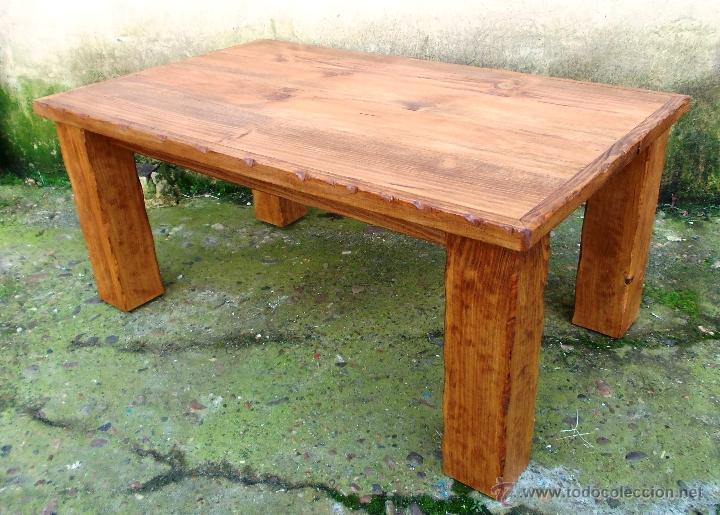 Mesa madera de centro rustica con patas de viga comprar for Mesas antiguas de madera