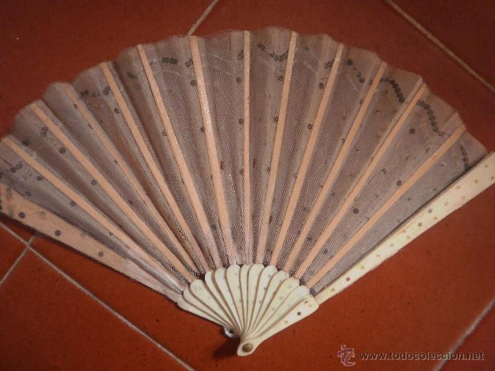 Antigüedades: Abanico antiguo de tul - Foto 4 - 41773619