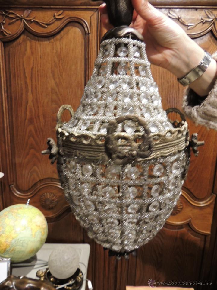 Antigüedades: FAROL GLOBO LAMPARA DE BRONCE ENVEJECIDO CON CRISTALES - Foto 2 - 57838177