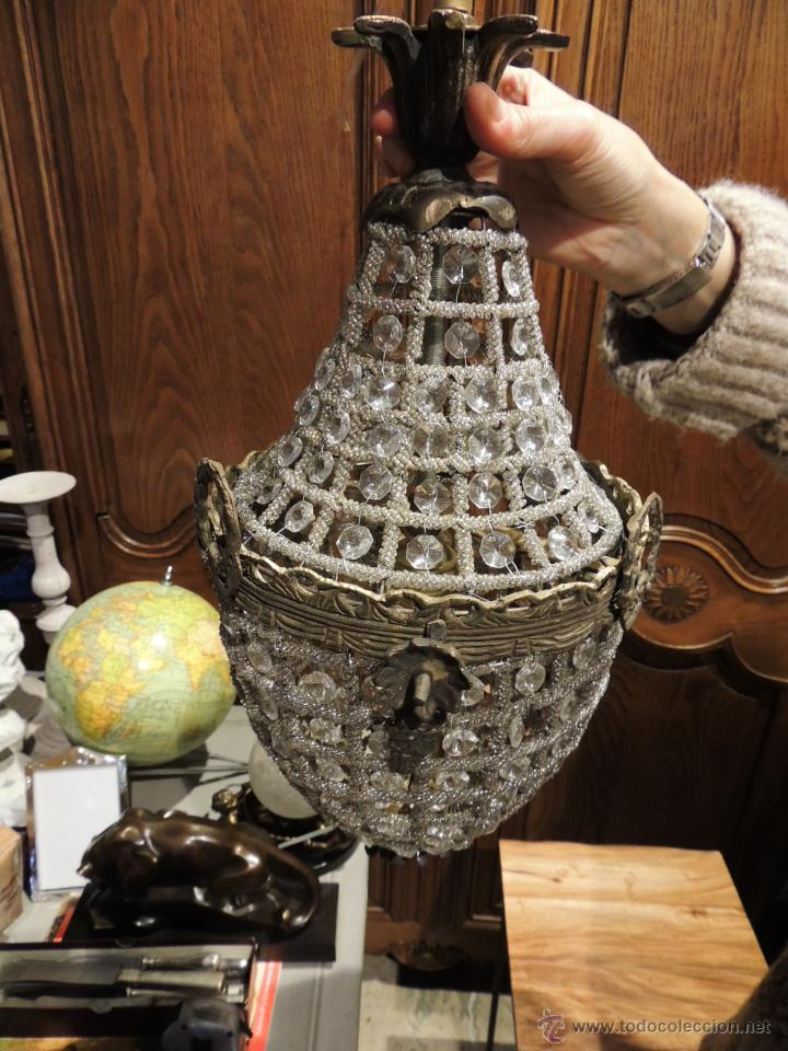 Antigüedades: FAROL GLOBO LAMPARA DE BRONCE ENVEJECIDO CON CRISTALES - Foto 4 - 57838177