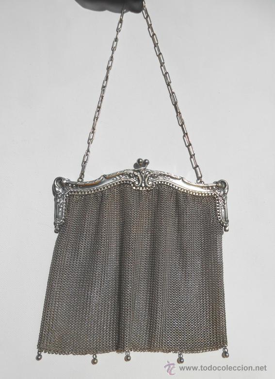 Antigüedades: Precioso bolso de malla de plata inglesa - Foto 2 - 41804601