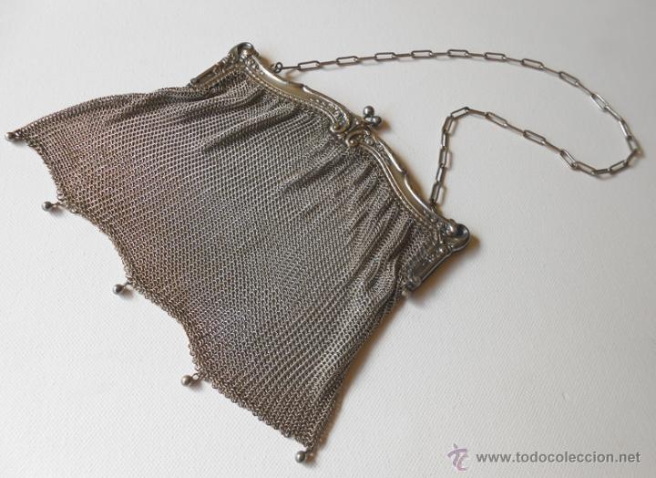 Antigüedades: Precioso bolso de malla de plata inglesa - Foto 3 - 41804601