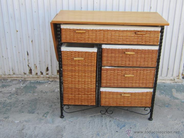 Mueble de planchar con tabla en madera hierro comprar muebles auxiliares antiguos en for Mueble tabla planchar