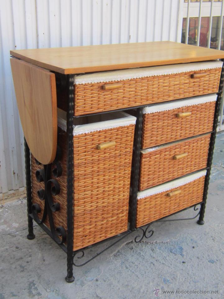 Mueble de planchar con tabla en madera hierro comprar muebles auxiliares antiguos en - Mueble de planchar ...