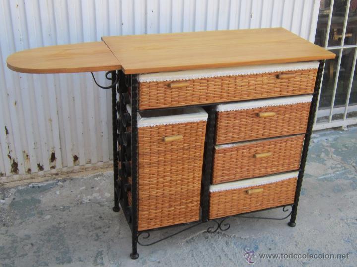 Mueble de planchar con tabla en madera hierro comprar - Mueble tabla planchar ...