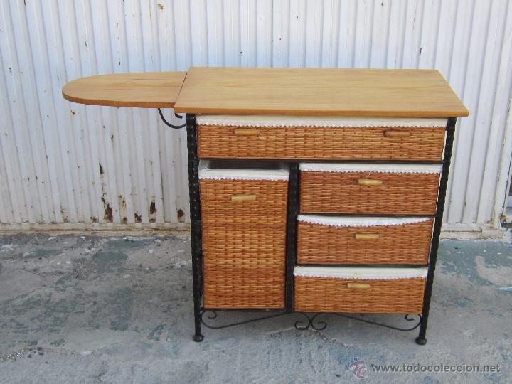 Mueble de planchar con tabla en madera hierro comprar muebles auxiliares antiguos en - Muebles de hierro y madera ...