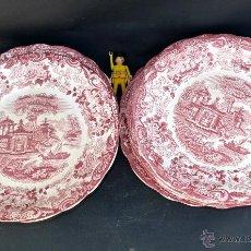 Antigüedades: LOTE VAJILLA 10 PLATOS CERAMICA LA CARTUJA PICKMAN SEVILLA ANTIGUO PLATO 202 BURDEOS. Lote 41832713