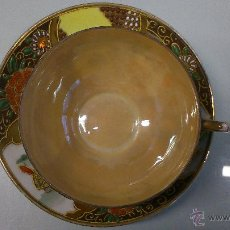 Antigüedades: PLATO CON TASA DE PORCELANA FINA. PINTADA A MANO CON PAN DE ORO.. Lote 41853925