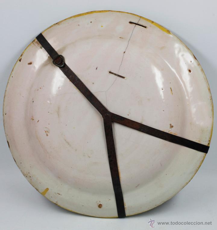 Antigüedades: Gran plato de cerámica antiguo s.XIX lañado, 34 cm. de diámetro, ver fotos. - Foto 2 - 41873260