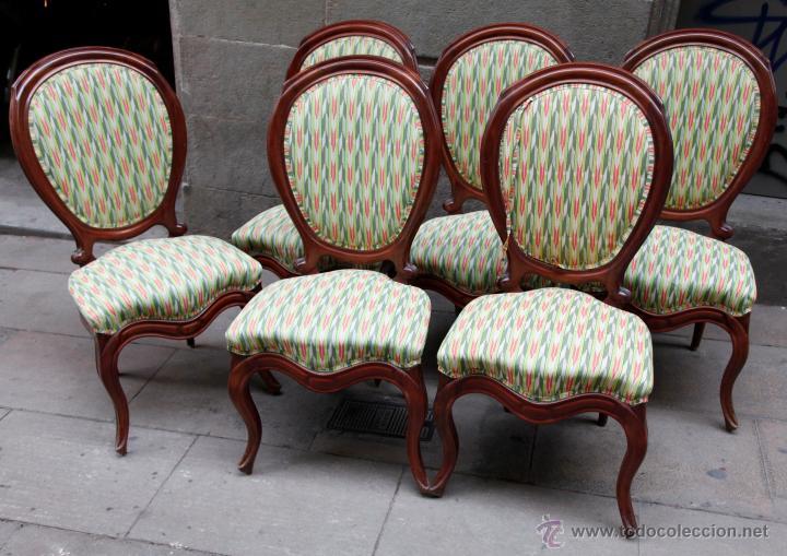 6 sillas isabelinas en buen estado tapizadas y comprar - Sillas antiguas restauradas ...