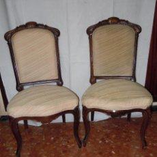 Antigüedades: PAREJA DE SILLAS ISABELINAS DE SALON. Lote 42007109