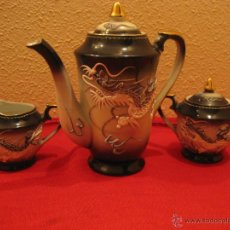 Antigüedades: ANTIGUO JUEGO DE CAFE DE CASCARA DE HUEVO CON DRAGON. Lote 42033302