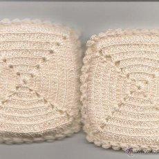 Antigüedades: ANTIGUOS AGARRADORES DE COCINA DE GANCHILLO, BLANCO. Lote 42037088