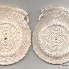 Antigüedades: ANTIGUOS AGARRADORES DE COCINA DE GANCHILLO, BLANCO. Lote 42037090