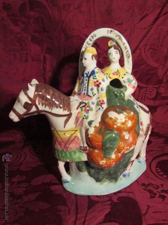 BOTIJO VALENCIANO DE MANISES DEL SIGLO XX. ESCRITO RECUERDO DE VALENCIA (Antigüedades - Porcelanas y Cerámicas - Manises)