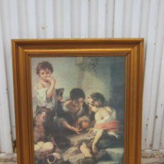 Antigüedades: MARCO EN MADERA DORADA CON LAMINA. Lote 42063182