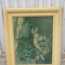 Antigüedades: MARCO DE MADERA EN BLANCO CON LAMINA. Lote 42063279