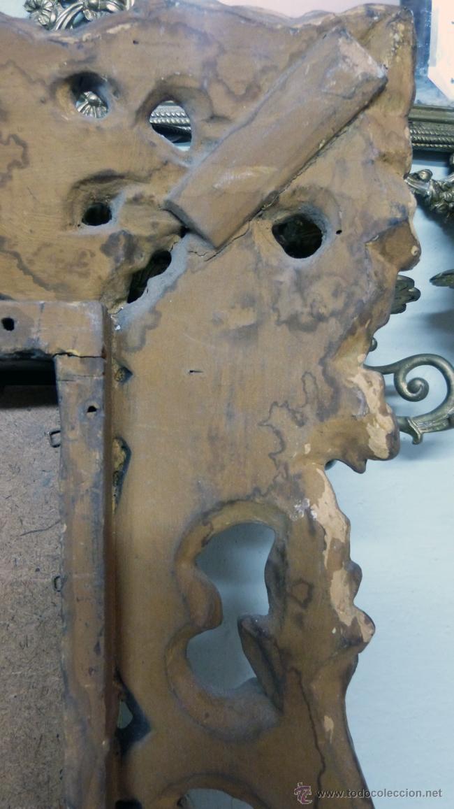 Antigüedades: ESPEJO MUY ANTIGUO TALLA EN ORO FINO - Foto 3 - 29846909