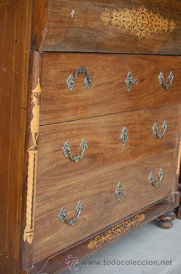 Antigüedades: Cómoda Escritorio - Isabelina - Madera de Nogal - Marquetería - Interior con Cajones - S. XIX - Foto 4 - 42115306