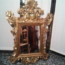 Antigüedades: MAJESTUOSO Y SEÑORIAL ESPEJO MADERA MUY ELABORADA COLOR DORADO PAN DE ORO 110X 70 CMS. Lote 44138465