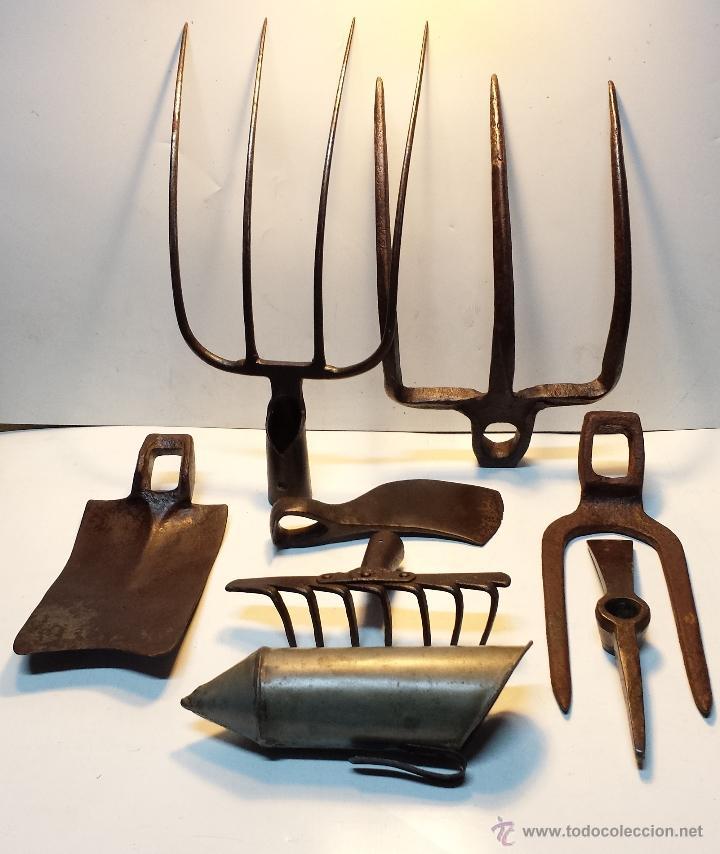 Lote 8 herramientas antiguas de forja para camp comprar - Herramientas de campo antiguas ...