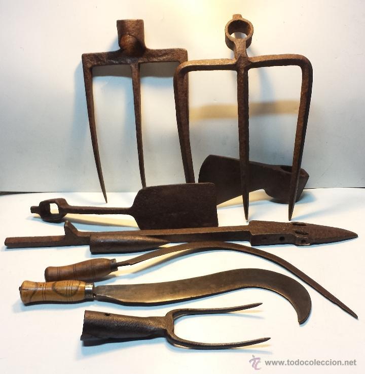 Lote 9 herramientas antiguas de forja para labo comprar for Herramientas de campo