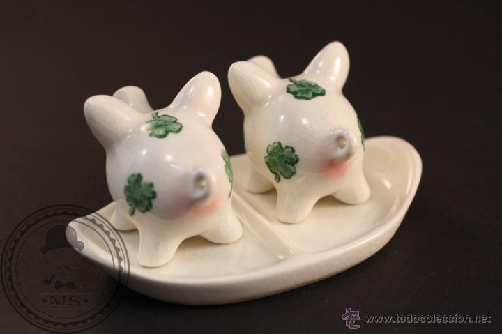 Antigüedades: Salero y Pimentero Cerdos de Porcelana - Fábrica Goebel - W. Germany / Alemania - Trébol - Foto 2 - 42138457
