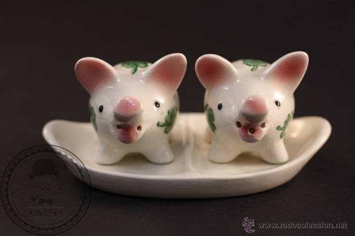 Antigüedades: Salero y Pimentero Cerdos de Porcelana - Fábrica Goebel - W. Germany / Alemania - Trébol - Foto 3 - 42138457