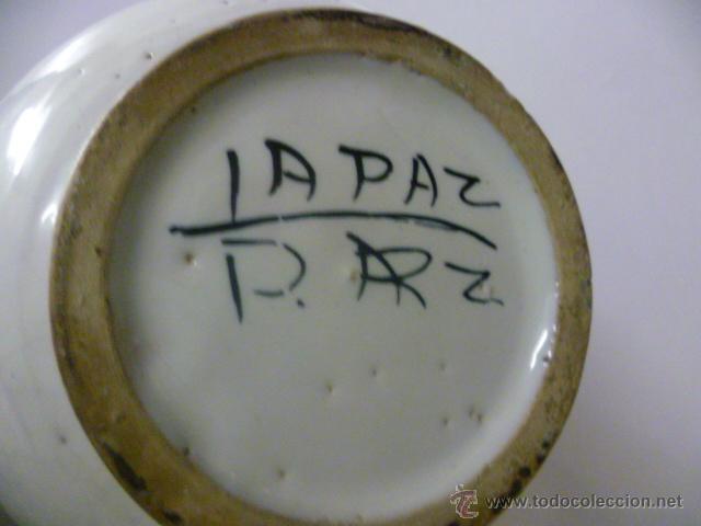Antigüedades: ANTIGUO BOTE DE CERÁMICA (Lentejas) - PUENTE DEL ARZOBISPO - PINTADO A MANO - AÑOS 60 - Foto 3 - 42146134
