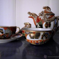 Antigüedades: CONJUNTO TETERA Y TAZAS SATSUMA (MADE IN JAPAN). Lote 42160935