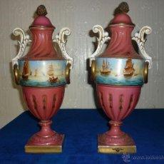 Antigüedades: PAREJA DE JARRONES DE PORCELANA ANTIGUOS. Lote 42165178