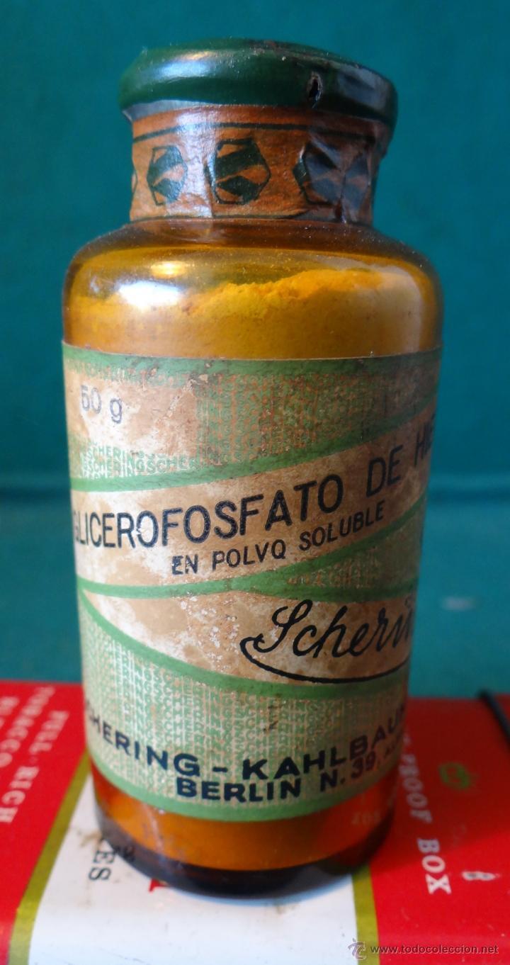 ANTIGUO FRASCO FARMACIA - GLICEROFOSFATO HIERRO - SCHERING - BERLIN - MOVIL 20 CTS. - AÑOS 1940,S - (Antigüedades - Cristal y Vidrio - Farmacia )
