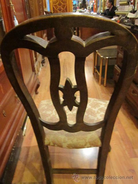 Antigüedades: Antigua silla de madera con asiento de enea tapizado. - Foto 6 - 42172998