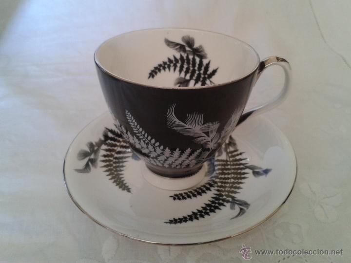2.- INTERESANTE TAZA Y PLATO. ROYAL ALBERT. BONE CHINA. NICHT AND DAY. NOCHE Y DIA. BLANCO Y NEGRO. (Antigüedades - Porcelanas y Cerámicas - Inglesa, Bristol y Otros)