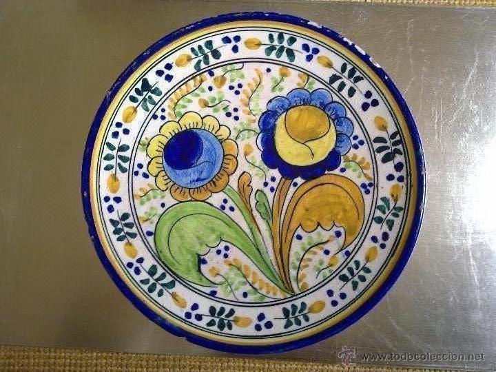 PLATO DE CERÁMICA DE TRIANA? TALAVERA? S XIX? (Antigüedades - Porcelanas y Cerámicas - Talavera)