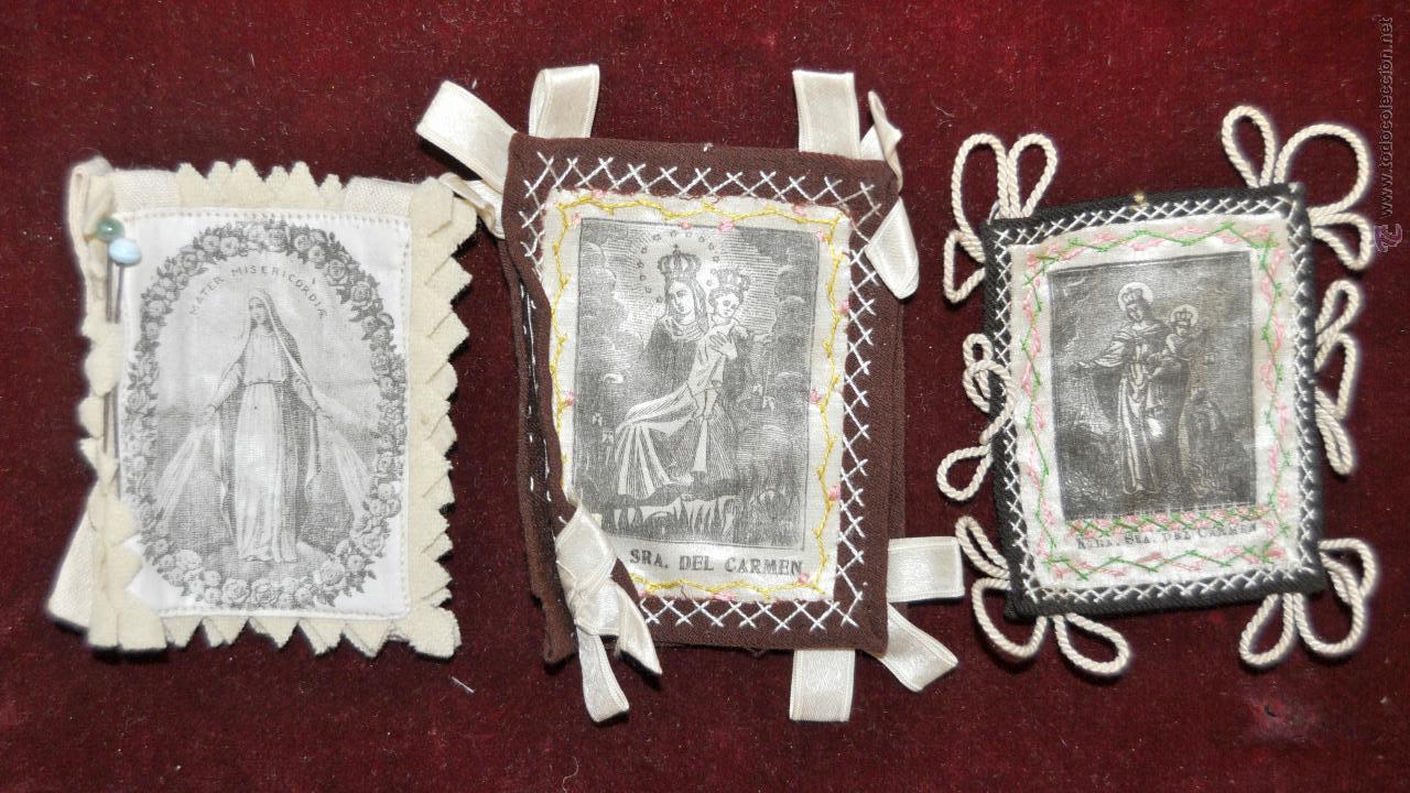 Antigüedades: CONJUNTO DE 14 ESCAPULARIOS BORDADOS A MANO DEL SIGLO XIX-XX. VIRGEN DEL CARMEN, MILAGROSA, ETC... - Foto 4 - 42226440