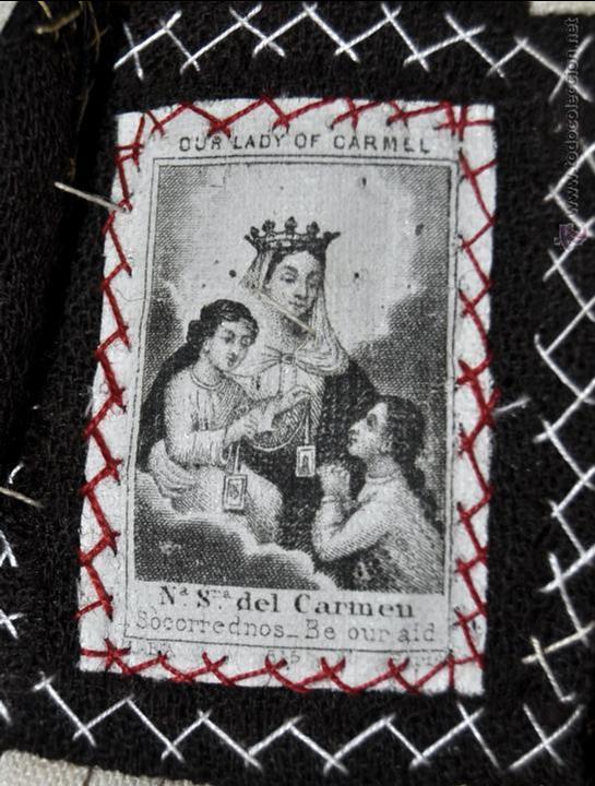 Antigüedades: CONJUNTO DE 14 ESCAPULARIOS BORDADOS A MANO DEL SIGLO XIX-XX. VIRGEN DEL CARMEN, MILAGROSA, ETC... - Foto 8 - 42226440