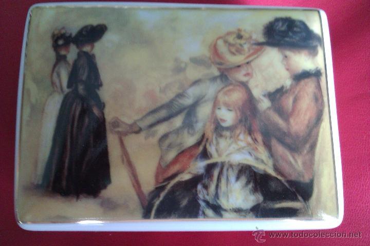 Antigüedades: Cajita de porcelana policromada dorada - Renoir - Jardines de Luxemburgo 1883 - Coleccion Luarada - Foto 2 - 42253869