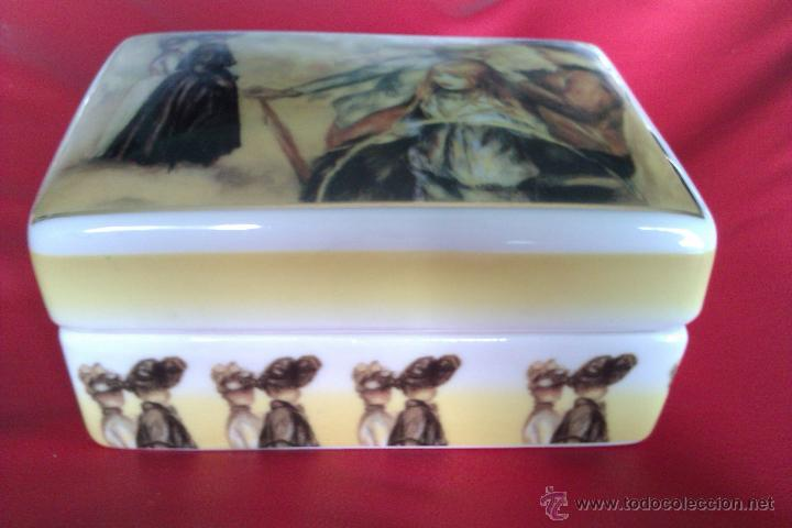 Antigüedades: Cajita de porcelana policromada dorada - Renoir - Jardines de Luxemburgo 1883 - Coleccion Luarada - Foto 3 - 42253869