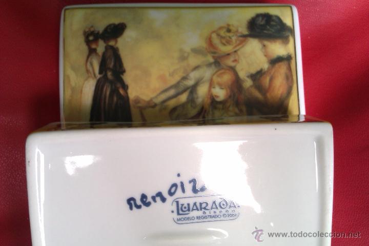Antigüedades: Cajita de porcelana policromada dorada - Renoir - Jardines de Luxemburgo 1883 - Coleccion Luarada - Foto 4 - 42253869