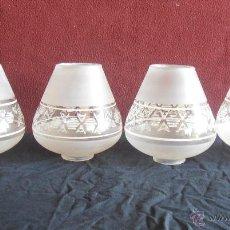 Antigüedades: 4 TULIPAS, PARA LAMPARA O QUINQUE. Lote 42256683