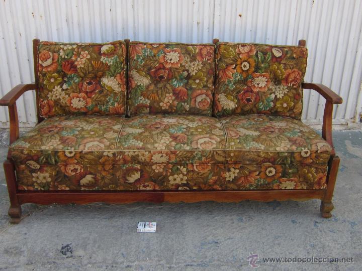 Sofa en madera con cojines comprar sof s antiguos en - Renovar muebles antiguos ...