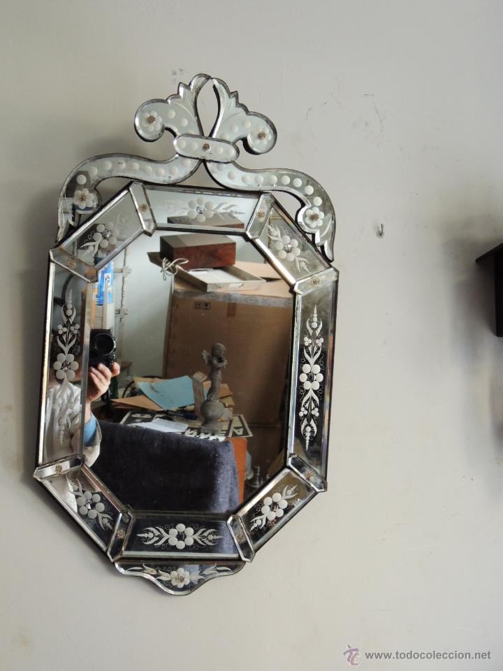 Antiguo espejo veneciano de cristal de murano d vendido - Espejo veneciano antiguo ...