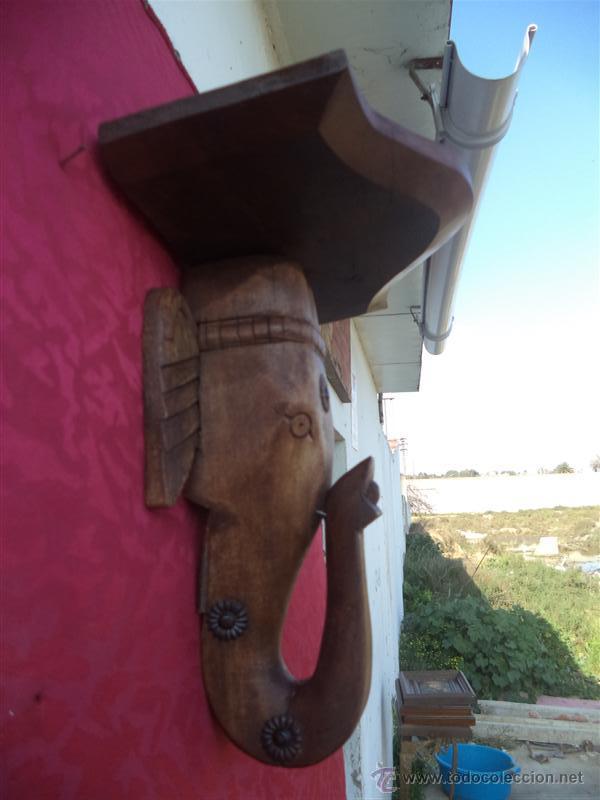 Antigüedades: mensula de madera figura de elefante - Foto 2 - 42289396