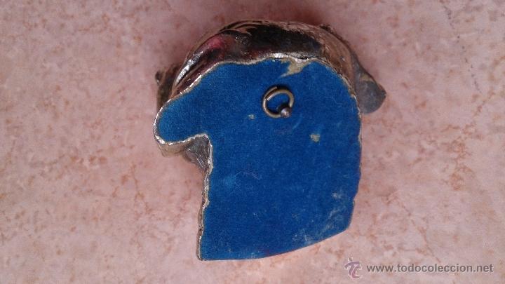 Antigüedades: Antiguo busto de perro labrador laminado en plata de ley. - Foto 10 - 42300509
