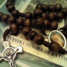 Antigüedades: ROSARIO DE 47 CM. BOLAS DE MADERA. Lote 42335503