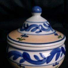 Antigüedades: ANTIGUO TARRO EN CERAMICA DE TALAVERA PINTADO Y HECHO A MANO. Lote 42337081