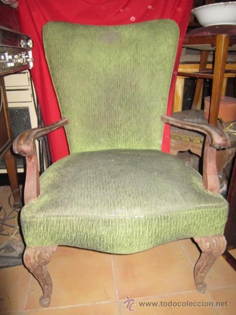 Sillon de madera con las patas talladas y tap comprar sillones antiguos en todocoleccion - Sillones antiguos para restaurar ...